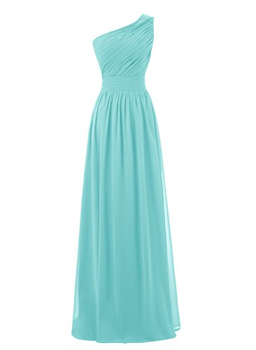 Kileyi Women's Long One Shoulder Ruched Chiffon Bridesmaid Formal Evening Dress