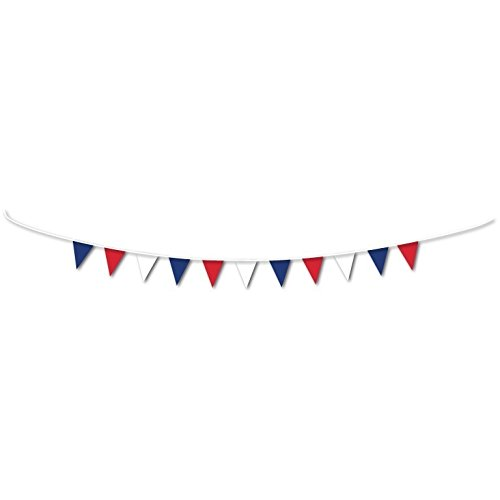Amscan International 994882 Great Britain Red/White/Blue Pennant Bunting - 3M GB Decorations, Red, White and Blue, One Size