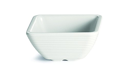 TableCraft Products RAMS4B 4 oz./118 mL Square Ribbed Ramekin, Bone Melamine (Pack of 12) (Ribbed Ramekin)