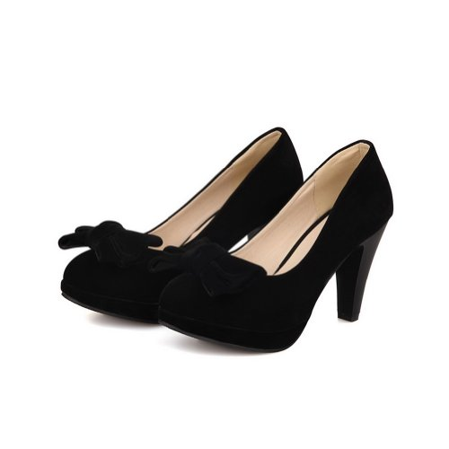 AmoonyFashion Girls Closed Round Toe High Heel Chunky Heels Platform PU Frosted Solid Pumps with Bowknot