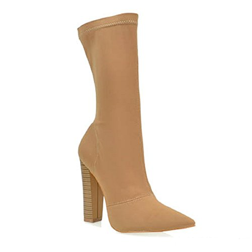 Toe Round Republic Ankle Heel Camel High Block CherryMad Bootie Pointy Shoe Genetic Boot Stretchy gnX8xfBqFq
