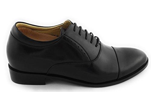 Zerimar Scarpe con Aumentato Interno di + 7 Centimetri Scarpe in Pelle Bovina di Alta Qualità 100% Pelle Colore Nero Taille 42