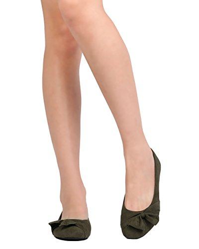 Alrisco Kvinnor Faux Mocka Rosett Platt - Casual, Dressat, Kontor - Rynkad Balett Platt - Gc69 Genom Refresh Khaki