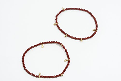Red Crystal Beaded Stretch Bracelet with Silver Vermeil Accents