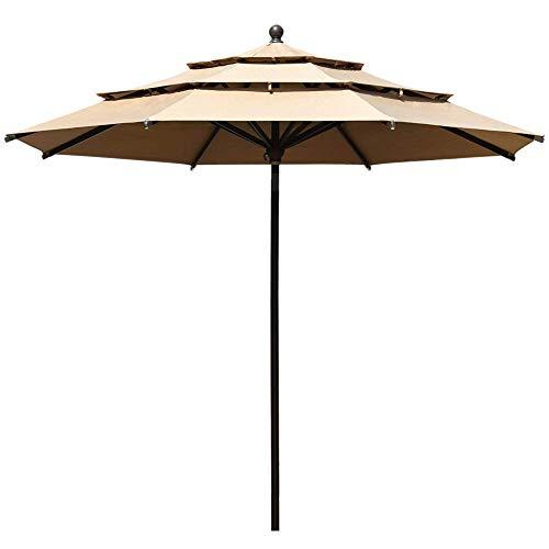 EliteShade Sunbrella 11ft 3 Tiers Market Umbrella Patio Outdoor Table Umbrella with Ventilation and 10 Years Non-Fading Guarantee(Sunbrella Heather Beige)