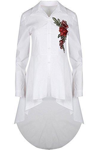 Oops Outlet Mujer con Cuello Botón Abajo Rosa Bordado Corto Largo Vestido Camisero Top - Blanco