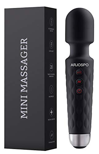 ARJOSPO Upgraded Mini Massager, The Original Compact Power Rechargeable Wand Massager, Wireless, 20x Multi-Speed Vibrations Perfect for Neck Shoulder Back Body Relief(Black)