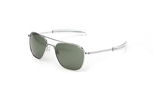 Randolph Aviator Polarized Sunglasses,White Gold Plated/AGX 55 - White Frame Aviators
