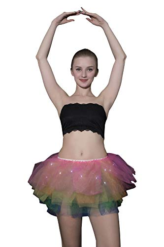 Women's Mini Tutu Skirt Rainbow with Led Light Up Tulle Costume Party Dance]()