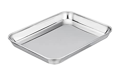 TeamFar Toaster Oven Pan Tray, Stainless Steel 8''x10''x1'' Baking Ovenware, Non Toxic & Healthy, Rust Free & Easy clean, Mirror Finish & Deep Edge - Dishwasher - Stainless Steel Jelly Roll