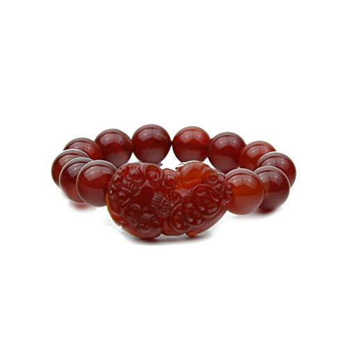 Feng Shui Red Carnelian Stone Bracelet with Pi Yao