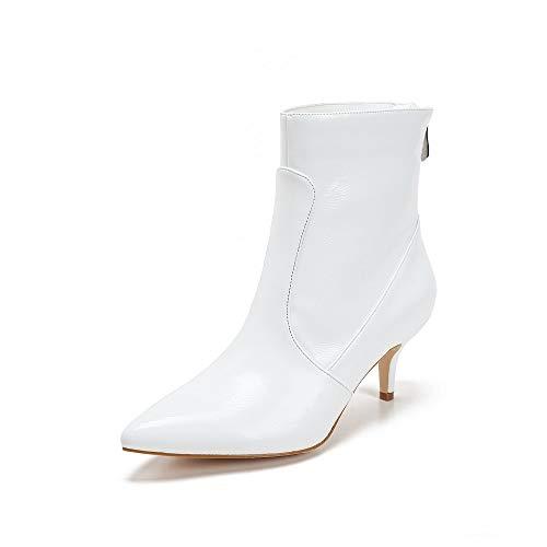 Mackin J 224C-7 Women's Classic Pointed Toe Kitten Heel Angle Boot(8, White)