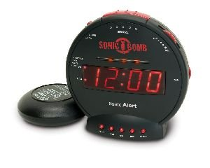 Sonic Bomb Extra Loud Alarm Clock 113db extra loud alarm and super-charged Bed Shaker Alarm Clocks at amazon