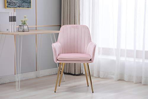 Artechworks Modern Velvet Accent Arm Chair Pink with Golden Legs, Living Room Bedroom Dinging Chair