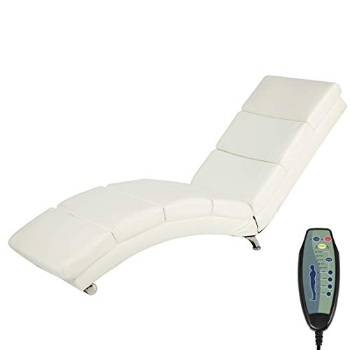 Mellcom Electric Massage Recliner Chair Chaise Longue Heated PU Leather Ergonomic Lounge Massage Recliner with Vibrating Massage,Heating,Remote Control,Side Pocket