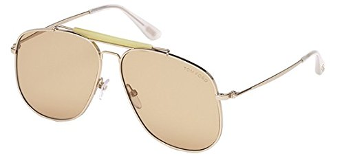 (Tom Ford TF 557 28Y Connor Shiny Rose Gold Metal Aviator Sunglasses)