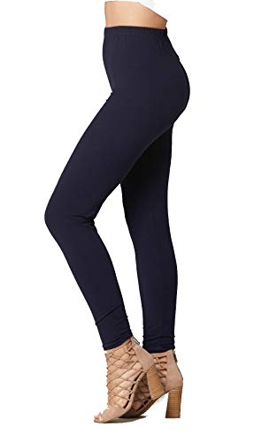 (Conceited Super Soft High Waisted Women's Leggings - Opaque Full Ankle Length - Navy Blue - One Size (0-10))