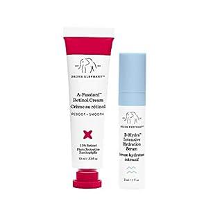 Drunk Elephant A-Passioni Midi. Travel-Size Vegan Retinol Anti-Wrinkle Face Cream to Brighten, Restore and Moisturize Skin with Vitamin F (10 ml) and B-Hydra Intensive Hydration Serum (3 ml)