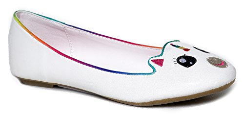 [Cute to the Core Critter Round Toe Casual Ballet Flats - Unicorn Bear Cow Sheep Panda Animals] (Sexy Men In Uniform)