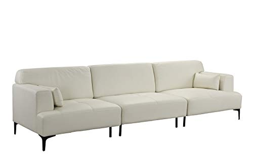 Extra Large Living Room Leather Sofa Couch Off-White