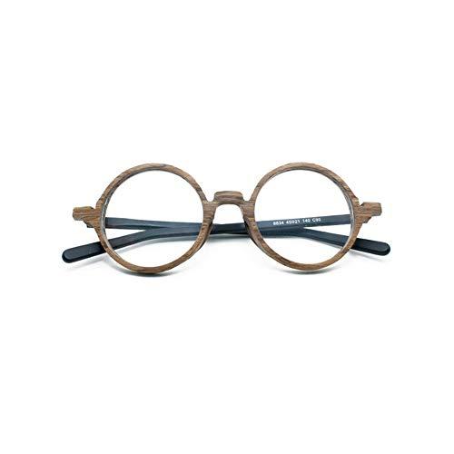 MINCL/Retro Wood Glasses Frame Round Optical Eyeglasses Frames Unisex Wooden Clear Lenses Reading Glasses Frame ()