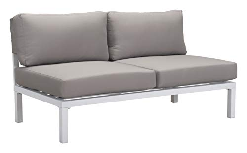 (Zuo 703897 Loveseat White, Gray)