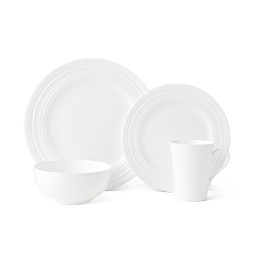 White China Plate - Mikasa Ciara 16-Piece Bone China Dinnerware Set, Service for 4