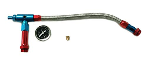 (Pirate Mfg Braided Holley 4150 Double Pumper Fuel Line Log Anodized W/Blk Oil Filled Gauge)