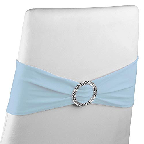 Juvale Light Blue Chair Sashes with Buckles (Set of 50) Wedding Spandex Sash No Pins or Clips Needed fits 14-18 Inch Dining Chairs