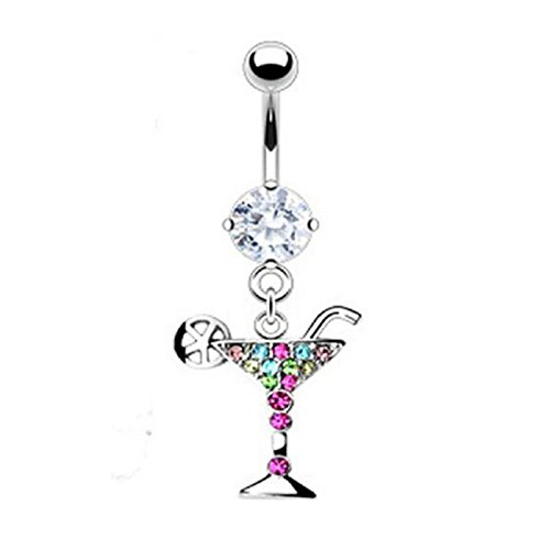 Martini Glass Belly Ring - Tonsee Martini Glass Dangle Navel Belly Button Rings Rhinestone Body Piercing