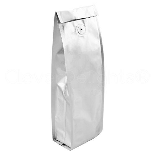 1 Lb Foil Bag (20 Pack - CleverDelights Silver Coffee Bags with Degassing Valve - Side Gusset - 1Lb (16oz) Bags)