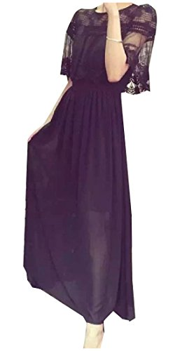 Solid Dress High Color Waist Black Womens Coolred Loose Evening Maxi Party g4TWR