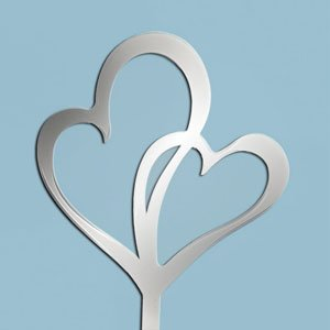 Oasis Supply Cupcake/Cake Decorating Ornament in a Beautiful Mirrored Finish, 5-1/2 by 5-1/4-Inch, Double Heart Symbol