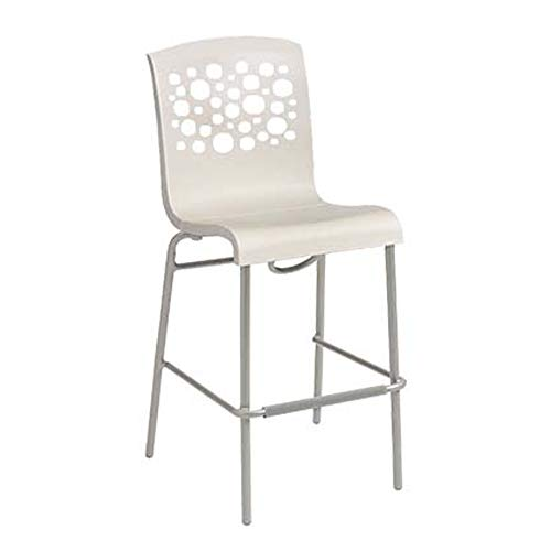 (Grosfillex US836004 Tempo Stacking Barstool, White with White Seat (Case of 8))