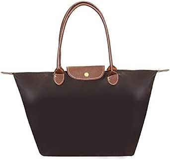 Women Bags Folding Shoulder Women's Nylon Handbags Dumplings Portable Female Tote Bag DJB156 brown