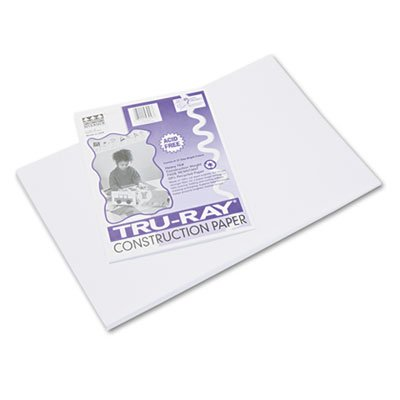 Tru-Ray Construction Paper, 76 lbs., 12 x 18, White, 50 Sheets/Pack, Sold as 50 Sheet