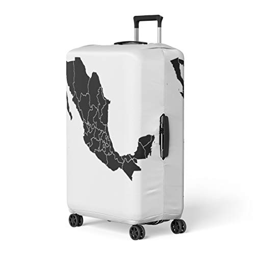 - Semtomn Luggage Cover America Black Map of Mexico American Border Caribbean Cartography Travel Suitcase Cover Protector Baggage Case Fits 26-28 Inch