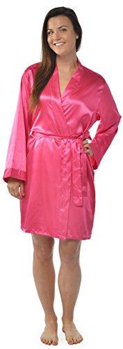 - Leisureland Women's Kimono Satin Robe, Solid Color Dressing Gown, Knee Length One Size, Fuchsia