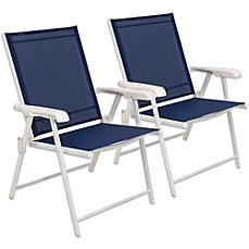 Hawthorne Outdoor Pool Folding Sling Chairs (Blue/White) (White Sling Patio Chairs)