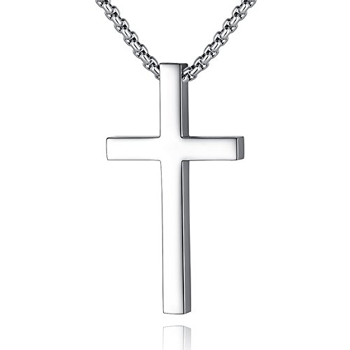 Reve Simple Stainless Steel Silver Tone Cross Pendant Necklace for Men Women, 20''-24'' Rolo Cable Chain (Silver Tone: 24'' Chain) - Classic Plain Small Cross Pendant