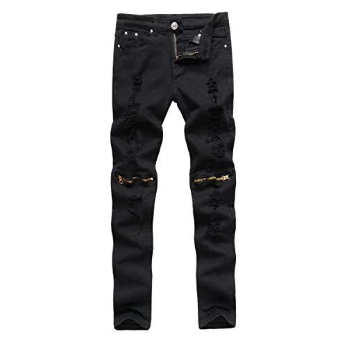 Alla Denim Media Strappati Fit Slim A Pantaloni Jeans Elasticizzati Nero Dritti Vita Uomo Giovane Da Moda HaxdwOR