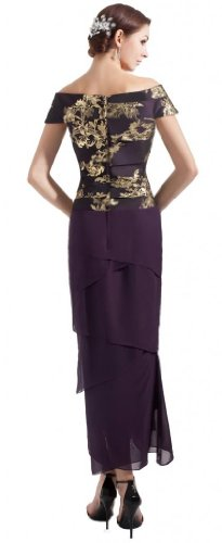 Orifashion EDSHER0317 - Vestido de noche, bordado, asimétrico, con varias capas