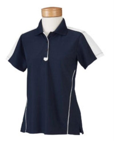 Chestnut Hill Women's Short Sleeve Piped Technical Performance Polo Golf Shirt - Ink/White CH355W L