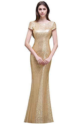 Boat Neck Open Back Mermaid Bridesmaid Dresses Sequins Wedding Party Gowns Light Gold