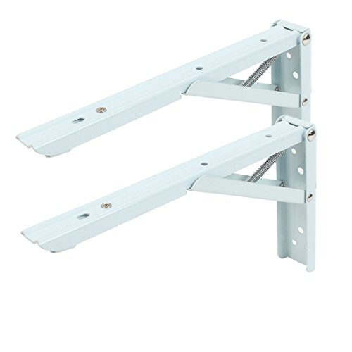 2 Pcs 90 Degree Spring Loaded Folding Support Shelf Bracket 14'' Length Shop Store Use With 8 Screw (14'') by MAJIAWEI