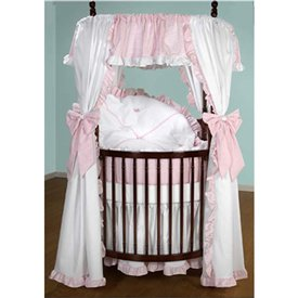 Pique Crib Bedding Set (BabyDoll Darling Drapes Round Crib Bedding Set, Pink Gingham)