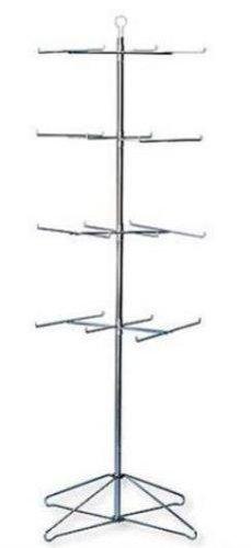 4 Tier Wire Floor Spinner Display Rack 24 Peg Chrome Finish