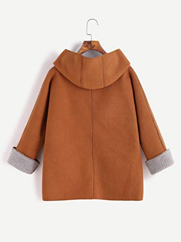 Suéter Con Casual Outerwear Otoño Jacket Top Coat Invierno Plush Larga Hoody Chaquetas Abrigos Mujeres Capucha Fashion Marrón Manga 4w41tqaS