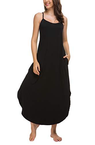 AVIIER Long Nightgown Womens Lounge Dresses with Pockets V Neck Sleeveless Sleepwear Chemise S-XXL