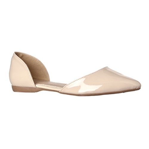 Riverberry Women's Riley Pointed Toe, D'Orsay Open Side Flat Shoe, Nude Patent, 8.5